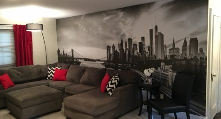 A wall graphic of Downtown Manhattan, as seen from Brooklyn